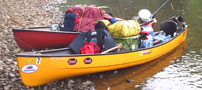 packed canoes
