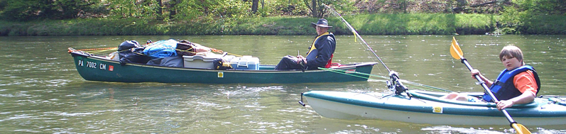 Mikey and Brian on the Clarion River in Lazy River Canoe Rental equipment